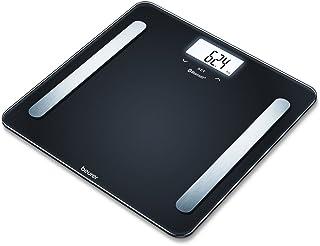 Beurer BF600 - Báscula de baño diagnóstica Bluetooth, compatible con App en español Health Manager, 2 electrodos, Android y iOs, negro, 30 x 30 x 2,1 cm, 1,5 kg