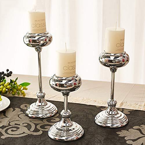 WZNING Gegalvaniseerde Zilveren Kandelaar Decoration Europese Nordic Romantic Iron Verzilverd Single-head Wedding Candlelight Dinner kaarshouder Modern eenvoudige inrichting te sturen Kaarsen