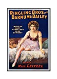 Ringling Bros and Barnum and Bailey - Dainty Miss Leitzel (sitting) Vintage Poster USA c. 1918 (24x36 Framed Gallery Wrapped Stretched Canvas)