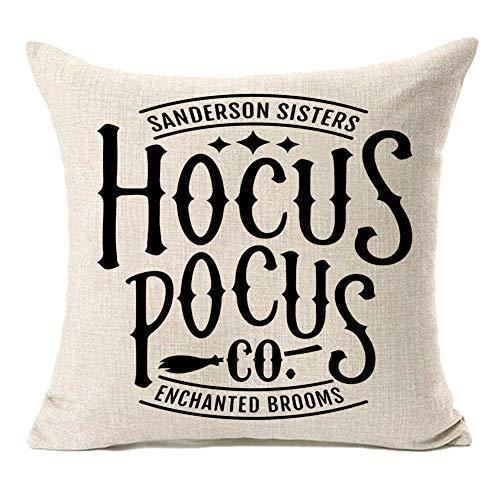 MFGNEH Sanderson Sisters Hocus Pocus Co Enchanted Brooms Fundas de almohada de 18 x 18 cm, decoraciones de Halloween, fundas de cojín de lino y algodón para sofá