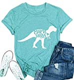 T&Twenties Womens Dinosaur Shirt Mama Saurus Tee Shirt Cute Graphic Print Tees Casual O-Neck Short Sleeve Tee Top Light Blue