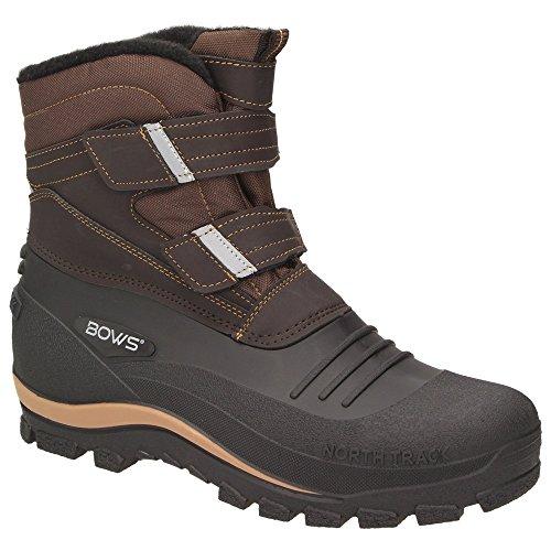 BOWS® -KNUD- Herren Schnee Stiefel Jungen Winter Boots Schuhe Warmfutter Klettverschluss rutschhemmend Schneefang, Schuhgröße:36, Farbe:braun