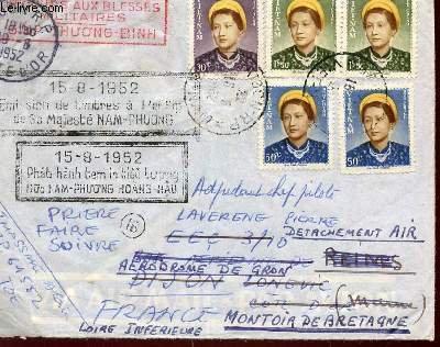 1 ENVELOPPE TIMBREE ET OBLITEREE EMISSION DE TIMBRES A LEFFIGIE DE SA MAJESTE NAM-PHUONG LE 15.08.1952 / DIMENSION 11.5 X 14.5 Cm.