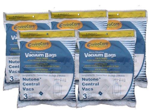 15 Central Vacuum Cleaner bags For Nutone Broan Cyclovac Dynavac Easyflo Eureka Filteraire Frigidaire Housekeeper/Rittenhouse Husky Miami Carey Singer Smart Soluvac Vacuflo 391, CF3918, 110025, 110056, Nutone-391, 44186 6 gallon