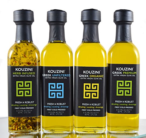 Ultra Premium Kouzini Mini combo and Infused Greek Extra Virgin Olive Oil (4pack-60ml Mini Bottles)
