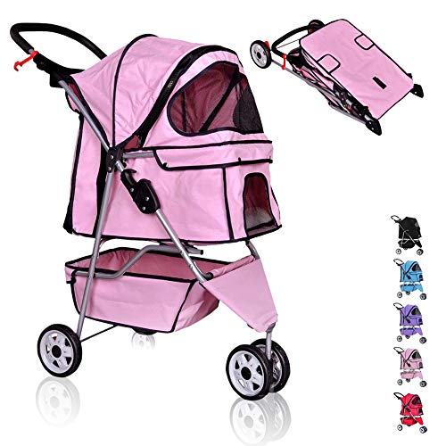Pet Stroller for Dog/Cat Jogger Stroller Travel Easy Fold with Removable Liner,Cup Holder,Storage Ventilation 3 Wheels 35Lbs Capacity for Small-Medium Dogs, Cats,Pink