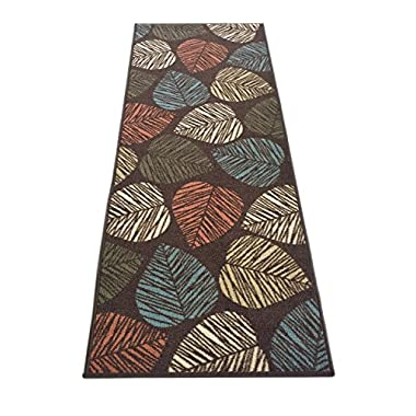 Rubber Collection Leaves Brown Multi-Color Printed Slip Resistant Rubber Back Latex Contemporary Modern Area Rugs and Runners (Brown, 20  x 59 )