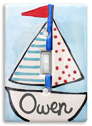 Sailboat Light Switch Cover, Hand Painted Ceramic, Personalized Nursery Light Switch, Nautical Nursery Decor, Little Worm and Company