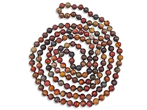 MGR MY GEMS ROCK! 60 Inch Polished Genuine Stone Multi-Layer Long Endless Infinity Beaded Necklace. (Picasso Jasper Stone)