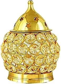 Decorative India Small matki Shape Crystal akhand Diya -Jyoti - Oil lamd Brass Made Table Diyafor Religious or Gift Brass, Glass Table Diya(Height: 16 inch)