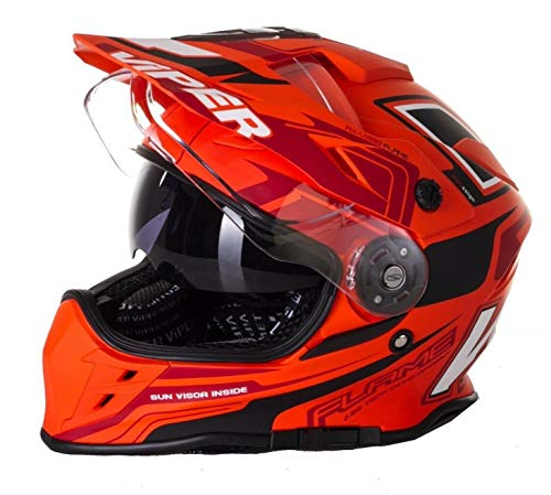 Viper dubbele vizier RX-V288 motorcross motorfiets Quad Dirt fiets ATV Off Road Enduro Race volwassen Mx helm (Flame Orange) (XL)