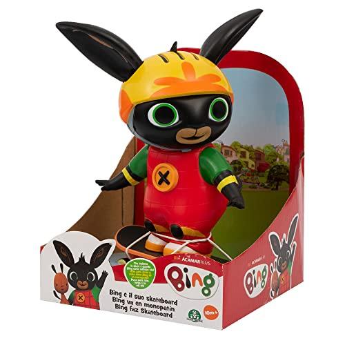 Bing - Personaggio 20 cm con Skateboard a retroricarica e removibile, indossa casco e protezioni e puo' dondolare e oscillare, Giochi Preziosi, BNG26000