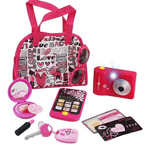 deAO Juego de Belleza Estilismo y Moda Conjunto de Accesorios Fashion Bolso de Mano Incluye Maquillaje Artificial Teléfono y Cámara de Juguete con Luz y Sonidos