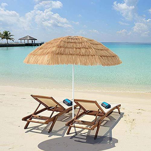 LDJ Jardin Extérieur Parapluie, Parasol Imitation Paille Parapluie, avec Protection UV, Inclinable Manivelle pour Parasols De Patio De Piscine De Jardin 1.8m/6ft