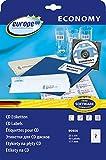 europe100 90406 CD-Etiketten, Durchmesser 117 mm, 25 Blatt/50 Etiketten, weiß