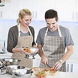 HB life 2Pack Schürze Kochschürze Sterne Schürze 82x71.5cm Baumwolle Leinen Verstellbare Küchenschürze Weiche Kochschürze mit Tasche für Damen und Männer (Gitter/Vertikalstreifen) - 3