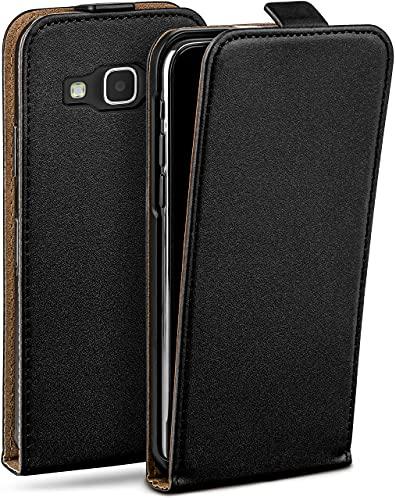 MoEx Flip Cover con Chiusura Magnetica Compatibile con Samsung Galaxy Express 2 | Finta Pelle, Nero