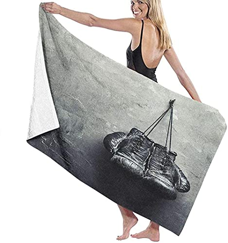 Telo Mare Grande 130 ×80cm, Vecchi guantoni da boxe,Asciugamano da Spiaggia in Microfibra Asciugatura Rapida,Ultra Morbido,Uomo,Donna,Bambina