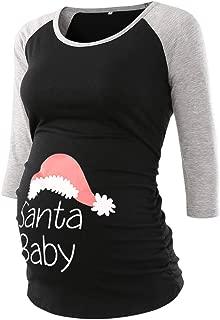 Jezero Women's Maternity Tops Short & Long Sleeve Baseball Crew Neck Flattering Side Ruching Pregnancy T-Shirt