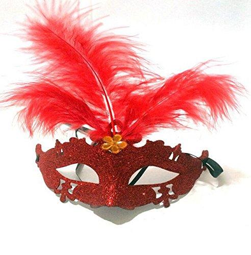Dayan Carnaval vénitien de Halloween Costume Mascarade Masque avec Plume Multi-Couleur Couleur aléatoire