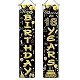 Un Par de Carteles de Cortina de Puerta de 18 Cumpleaños, Cartel de 18 Cumpleaños, Decoración de Cumpleaños, Cartel de Fiesta de Feliz Cumpleaños, Suministros de Fiesta de Cumpleaños