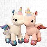 CVBA 2 Unids / Set Unicornio Arcoíris De Peluche De Juguete Pegasus Girly Heart Almohada Suave Muñeco De PelucheRegalo delDía DeSan Valentínpara La Novia Amante 40Cm