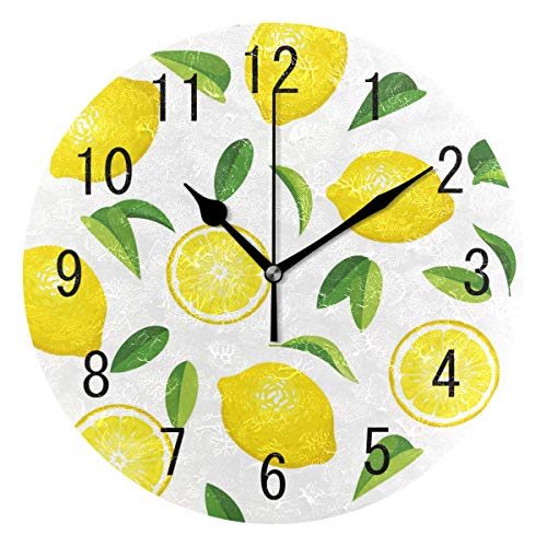 ALAZA Home Decor Summer Lemon Fruit Leaves 9.5 inch Round Acrylic Wall Clock Non Ticking Silent Clock Art for Living Room Kitchen Bedroom