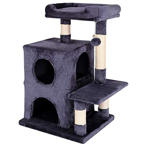 dibea Tiragraffi per gatto albero tiragraffi gatto gioco giocattolo gatti Altezza 80 cm Grigio scuro