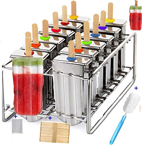 stainless steel popsicle mold - metal ice pop molds bpa free -ice Cream Ice Lolly Popsicle Mold pop molds with wooden sticks-ice pop maker molds popsicle mold stainless steel (12 cavity mold)