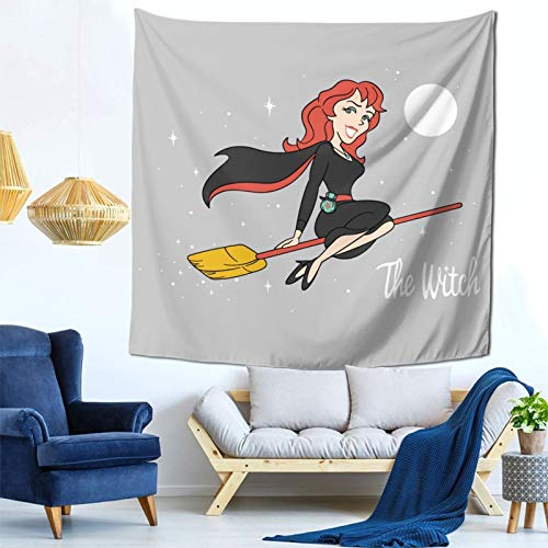 1033 The Witch Rowena Supernatural Bewitched Wall Hanging Tapestry for Living Room and Bedroom Spreads Good Vibes 59×59 Inches