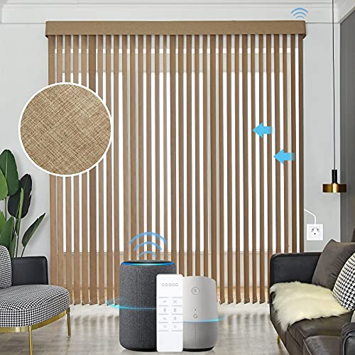 Graywind Motorized Vertical Blinds Compatible with Alexa Google Privacy Reversible Blackout Smart Vertical Blind Remote Control Track Slats Set for Patio Sliding Glass Doors (Coffee)