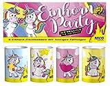 Unbekannt NICO - 4er Btl. Tischfeuerwerk Tischbomben  Einhorn Party  Silvester Geburtstag Kinder Party