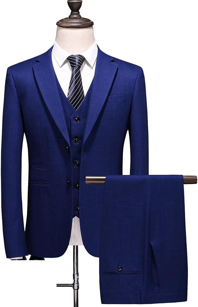 GELTDN Men Slim Button Suit Pure Color Dress Blazer Host Show Jacket Coat & Pant Mens Formal (Color : Blue, Size : 4XL 81-85kg)