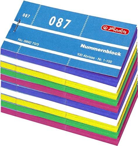 Herlitz Nummernblöcke 10x 1-1000 Nummer 1-1000 100x100 Abrisse (Sortiert   3 Zufällige Farben)