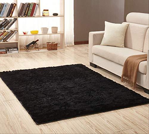axnx Teppiche Superweiche Seidenteppich Indoor Modern Shag Area Teppich Seidige Teppiche Schlafzimmer Bodenmatte Baby Kinderzimmer Teppich Kinderteppich 160X250Cm Schwarz