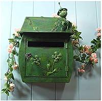 HthlyP 壁掛け 郵便ポスト鍵付き メールボックスのヨーロッパのクラシックヴィラのメールボックスパストラルレトロウォールはロックレターボックスメールボックス防水屋外郵便受けが搭載されました (Color : Green)