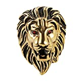 HZMAN Men's Vintage 316L Stainless Steel Lion Ruby Eyes Rings Heavy Metal Rock Punk Style Gothic Biker Ring Silver Gold Black 3 Colors (Gold, 10)
