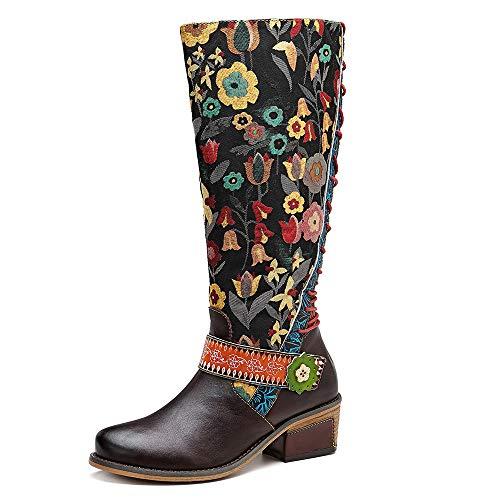 CrazycatZ Damen Stiefel Hoch Leder Stiefel mit Absatz Bunt Stiefel Bequeme Outdoor Knee Stiefel Flache Reißverschluss Langschaft Patchworkstiefel (37 EU, Brown A)