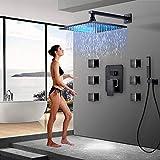 Grifo de baño Negro Bronce Ducha de lluvia Grifo de baño Montado en la pared Bañera Mezclador de ducha Grifo de ducha de baño Juego de ducha-Juego de ducha de 12 pulgadas
