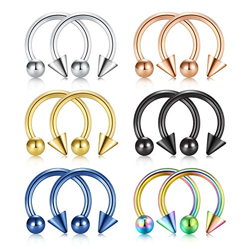 Rajnard 12Pcs Nose Rings Hoop Septum Rings 16G 8mm Surgical Steel Horseshoe Ring with Ball Spike Lip Ring Tragus Helix Cartilage Earring Hoop Piercing Jewellery Women Men