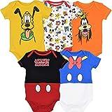 Disney Mickey Mouse Baby Boys 5 Pack Short Sleeve Bodysuit 18 Months