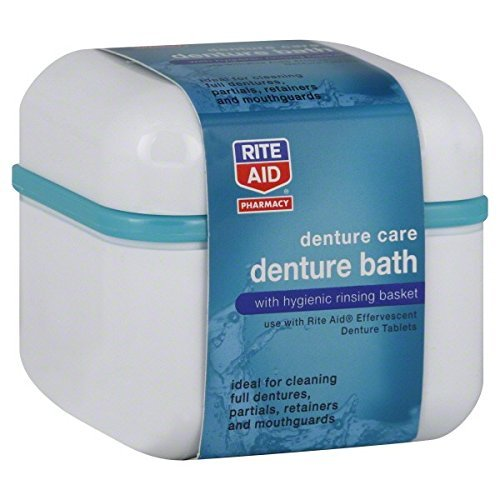 Brand Name Pharmacy Denture Bath, with Hygienic Rinsing Basket