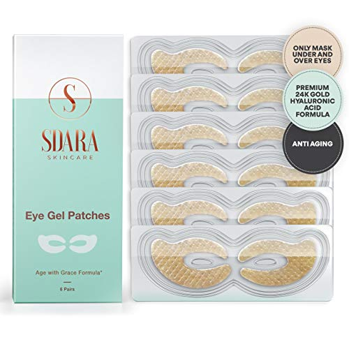 24K Gold Eye Mask - Anti Aging Under Eye Patches - Hydrating Under Eye Mask For Puffy Eyes - Reduce Wrinkles - Under Eye Bags Treatment For Dark Circles- Eye Masks - Eye Gel Pads - (6-Pack)
