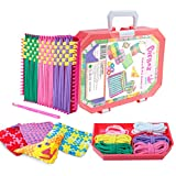 PREBOX Weaving Loom Kit Toys for Kids and Adults, Potholder Loops Crafts for Girls Ages 6 7 8 9 10 11 12, 7' Pot Holder Loom Knitting Kits and Gifts for Kids and Beginners, Make 6 Masterpieces