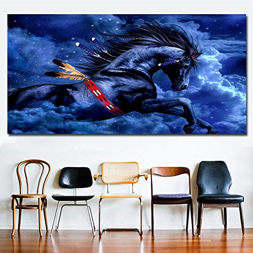 N\A canvas wall art prints Blue horse wall artwork poster andpictures for living room-Frameless 30X60cm