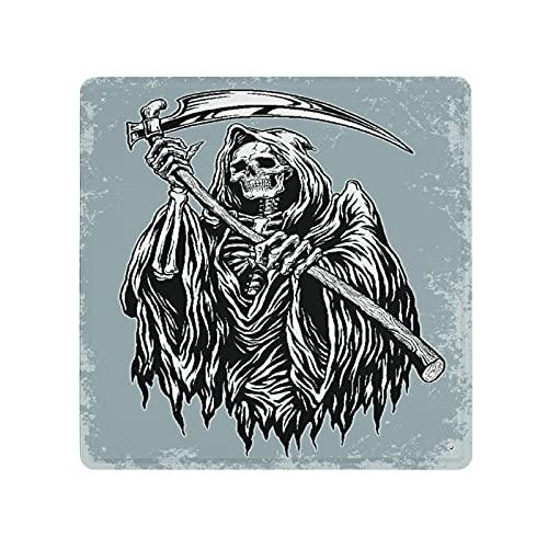 DECISAIYA Cartel de chapa Retro,Mano entintada Grim Reaper El rey del terror Ángel de la muerte Placas Cartel Colgante Idea de Regalo para Bajo techo,en exteriores,metálico,Diseño Vintage,30x30cm