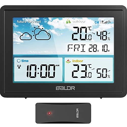 Estacion Meteorologica Inalámbrica con Sensor para Interior Exterior, Termómetro Digital Higrómetro con Pronóstico del Tiempo, Hora del Día, 3 Canales,Pantalla Estacion Meteorologica Interior Exterior