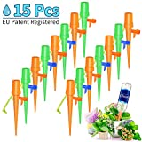 [Upgrade] Plant Watering Devices- 15 PCS Self Watering Spikes, Automatic Plant Waterer, Irrigation Drippers with Slow Release Control Valve Switch for Flower beds, Vegetable Gardens, Lawn