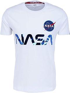 ALPHA INDUSTRIES Men's NASA Reflective T-Shirt, White, M