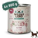 Wildes Land | Nassfutter für Hunde | Bio Rind | 6 x 800 g |...